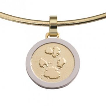 jewel, Schmuck, sieraad, pendant, anhänger, hanger, pawprint pet, pootafdruk huisdier, adore, gold, goud, yellow, white, geel, wit